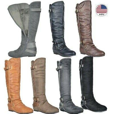 DREAM PAIRS Women's Knee High Wedge Winter Riding Boots
