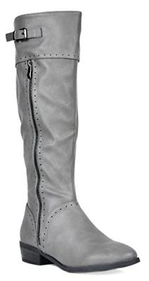 DREAM PAIRS Women's Koson Grey Knee High Winter Riding Boots