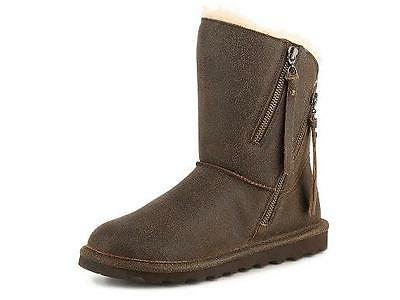 Women's BEARPAW MIMI Brown Leather Sheepskin Fur Wool Winter