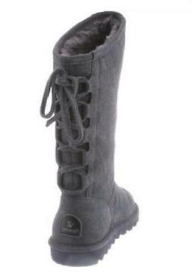 Bearpaw Phylly Womens Winter Boots Gray Pull Leather Lined Calf