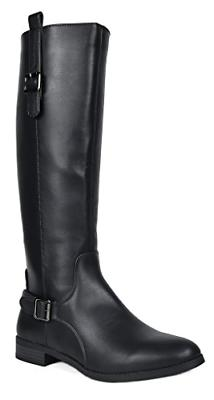 TOETOS Women's Sam Black Faux Leather Knee High Winter Ridin