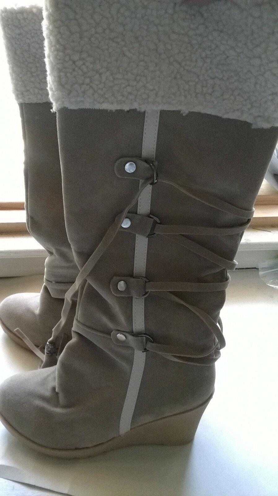 Women's Susanny Tan Faux Suede Lace Up High Wedge Boots B US