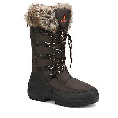 DREAM PAIRS Faux Lined Waterproof Mid Zipper Snow Boots