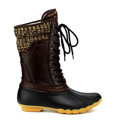 Women's Waterproof Rubber Duck Boots Snow Lace Up Booties Hot