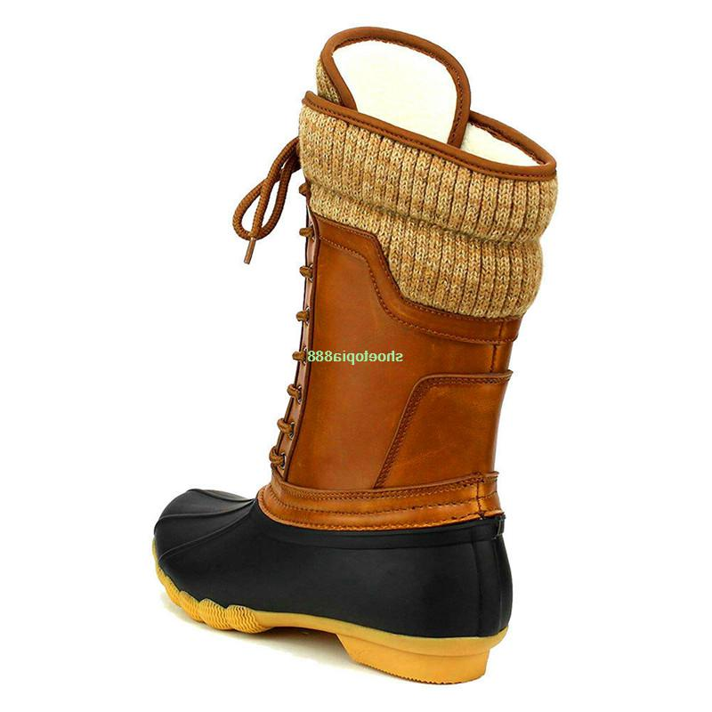 New Women's Winter Snow Duck Boots Rubber Hiking Lace Booties