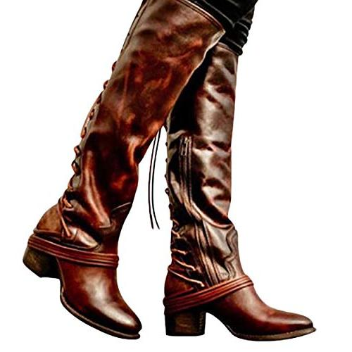 Susanny Wide Knee High Boots Low Chunky Zipper Strappy Retro Boot Brown 6.5 US