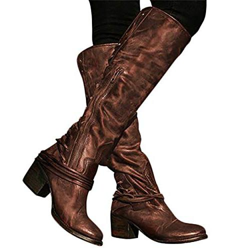 Susanny Knee Zipper Strappy Boot US