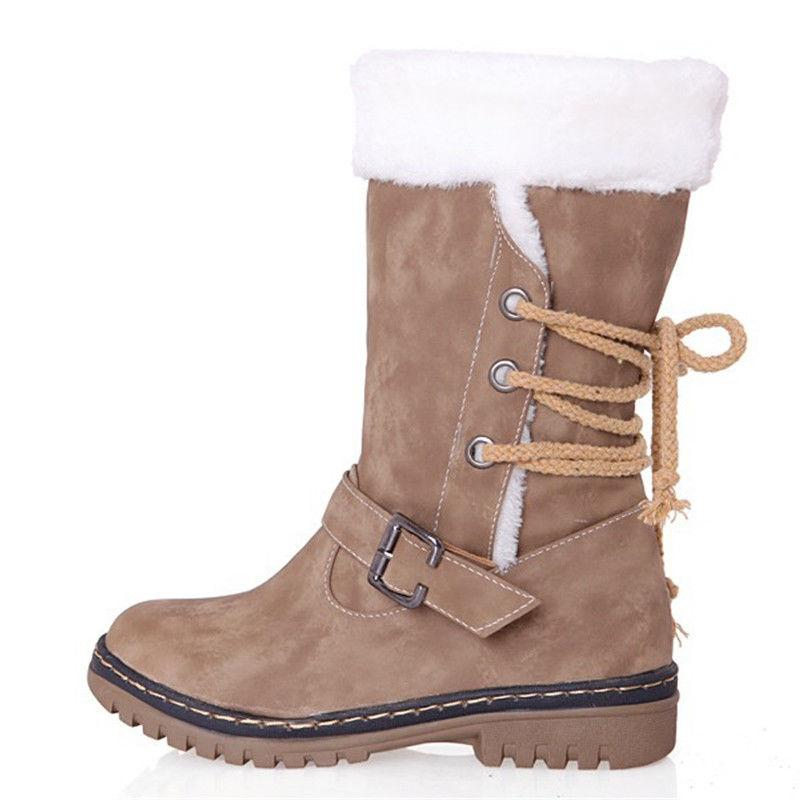 Women's Winter Boots Snow Fur Insulated Midi Calf Shoes Size