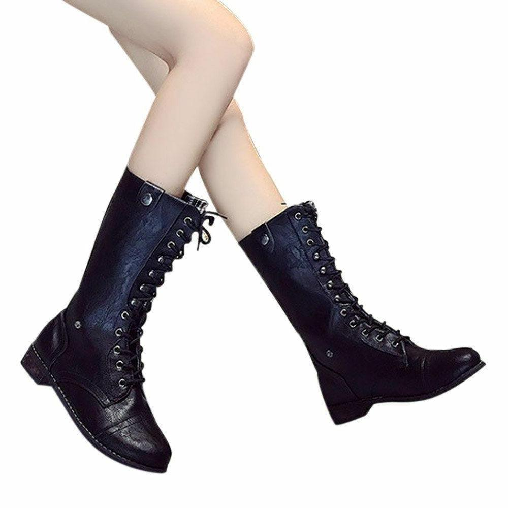 Women Winter Snow Lace Up Boots Punk Style Round Toe Square