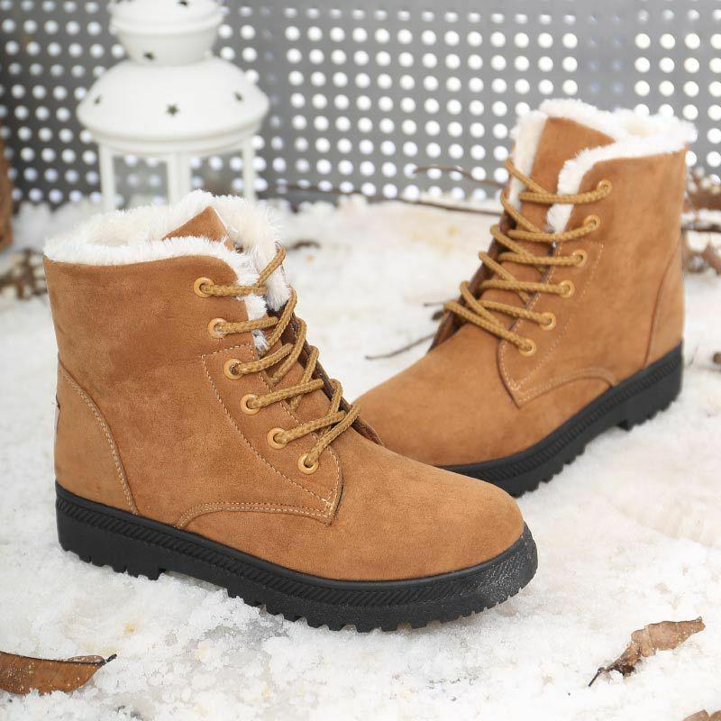 Women Suede Flat Boots Up Fur Lined Boots Shoes