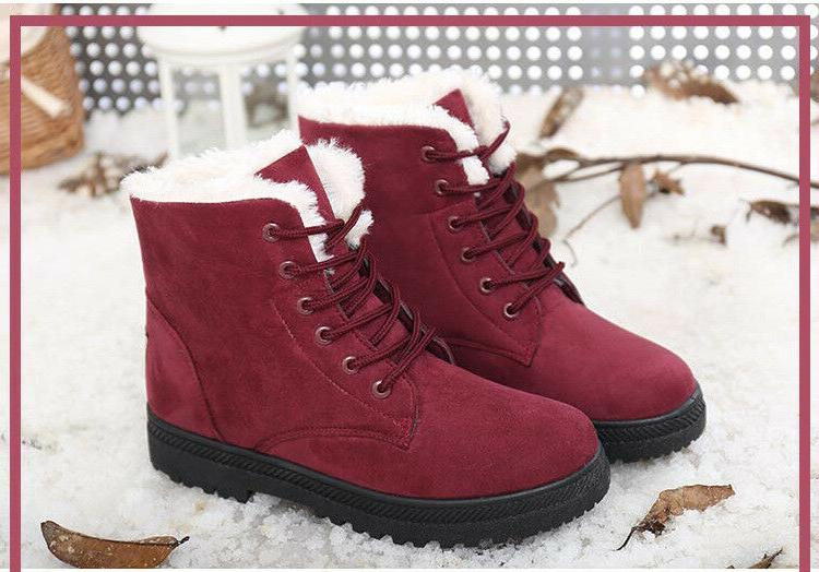 Women Winter Suede Boots Fur Boots Shoes