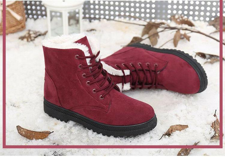 Women Suede Flat Boots Lace Fur Work Snow Boots Shoes