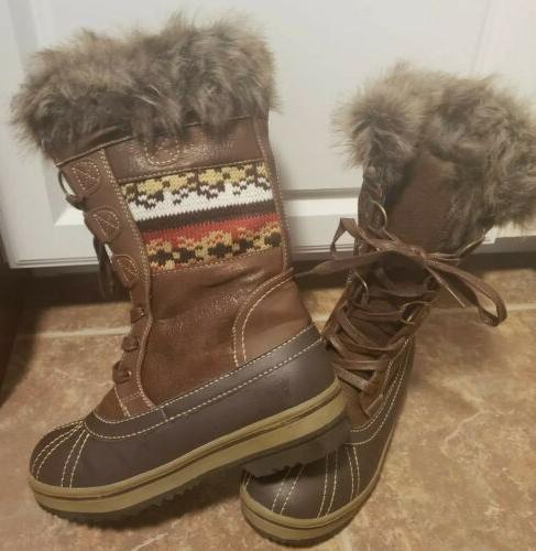 womens bishop tall snow winter boots faux