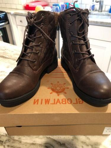 womens brown lace up boots size 8