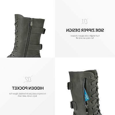 DREAM PAIRS Combat Motorcycle Boots Warm Zip Boots