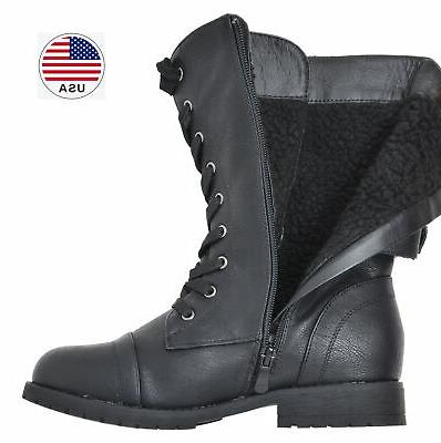 DREAM PAIRS Womens Combat Motorcycle Boots Zip Mid Winter Boots