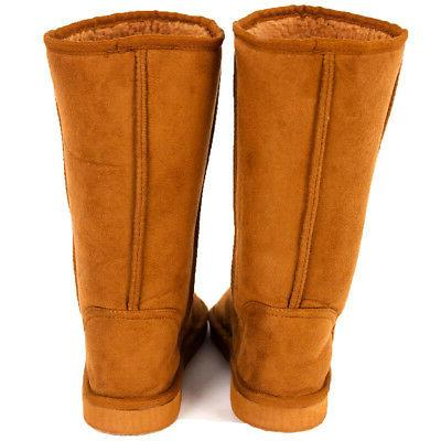 Womens Fur Sheepskin Suede Mid Tall Warm