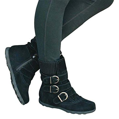 womens mid calf boots warm winter zipper