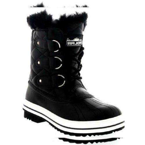Polar Products Womens Snow Boot Quilted Short Winter Rain Wa