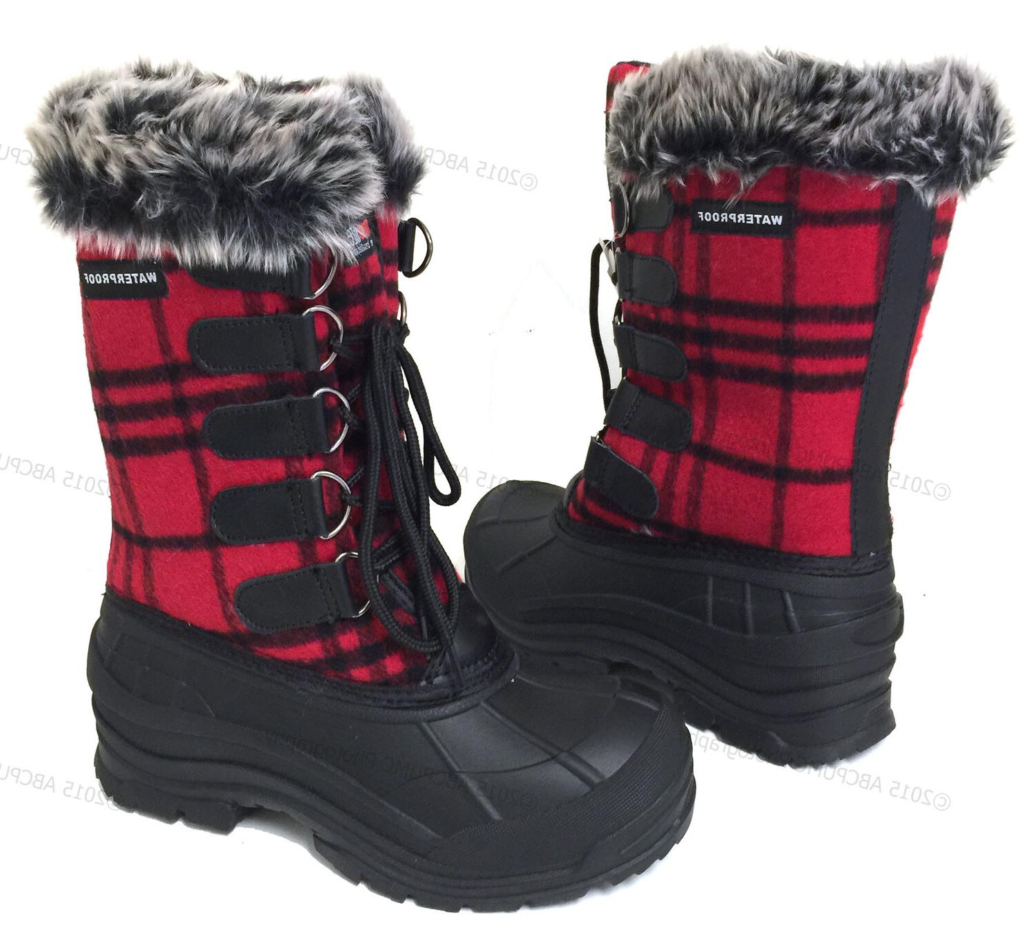 Womens Winter Plaid Fur Warm Waterproof Hiking Snow