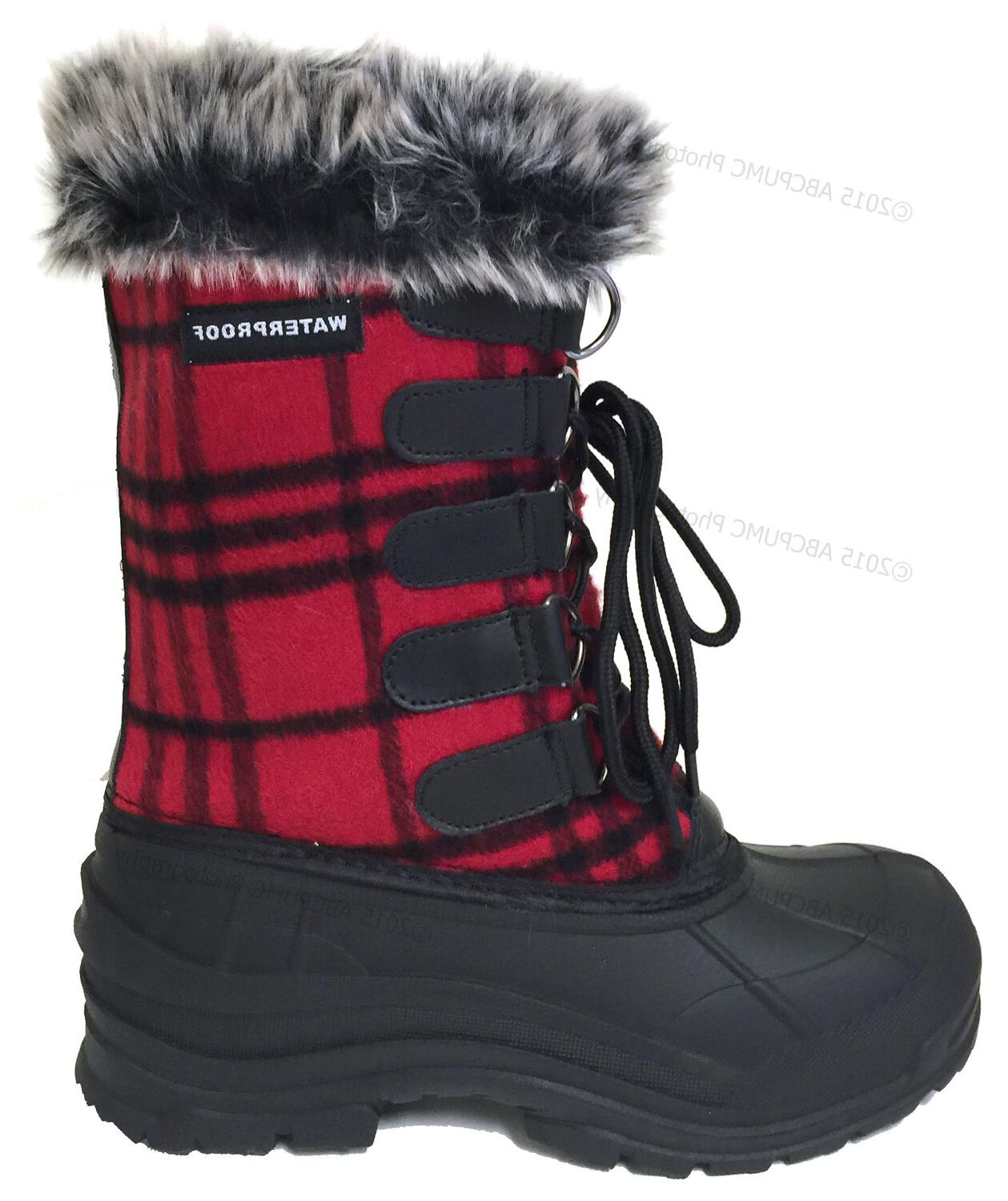 Womens Winter Plaid Fur Warm Insulated Waterproof