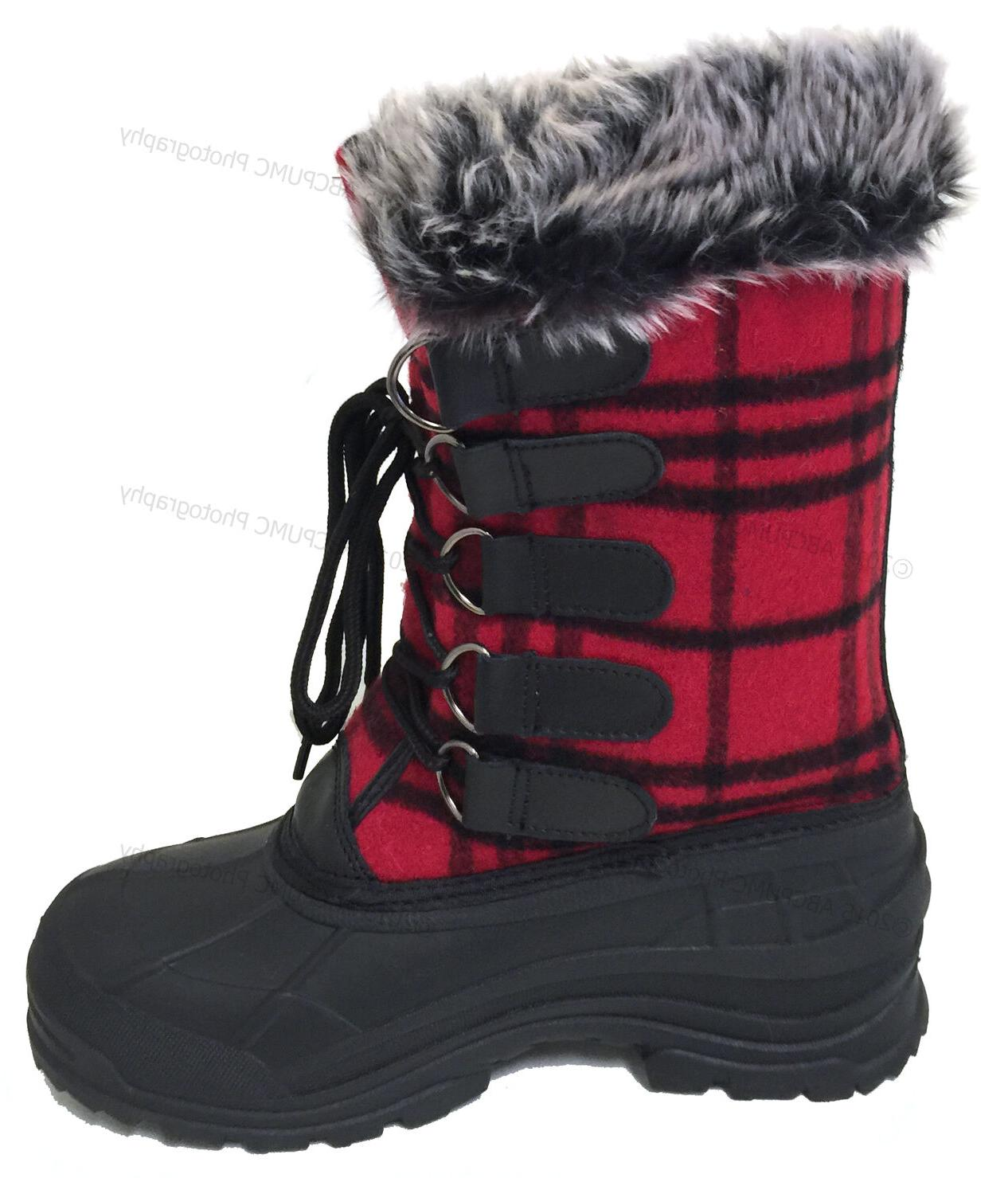 Womens Winter Boots Plaid Insulated Waterproof Shoe