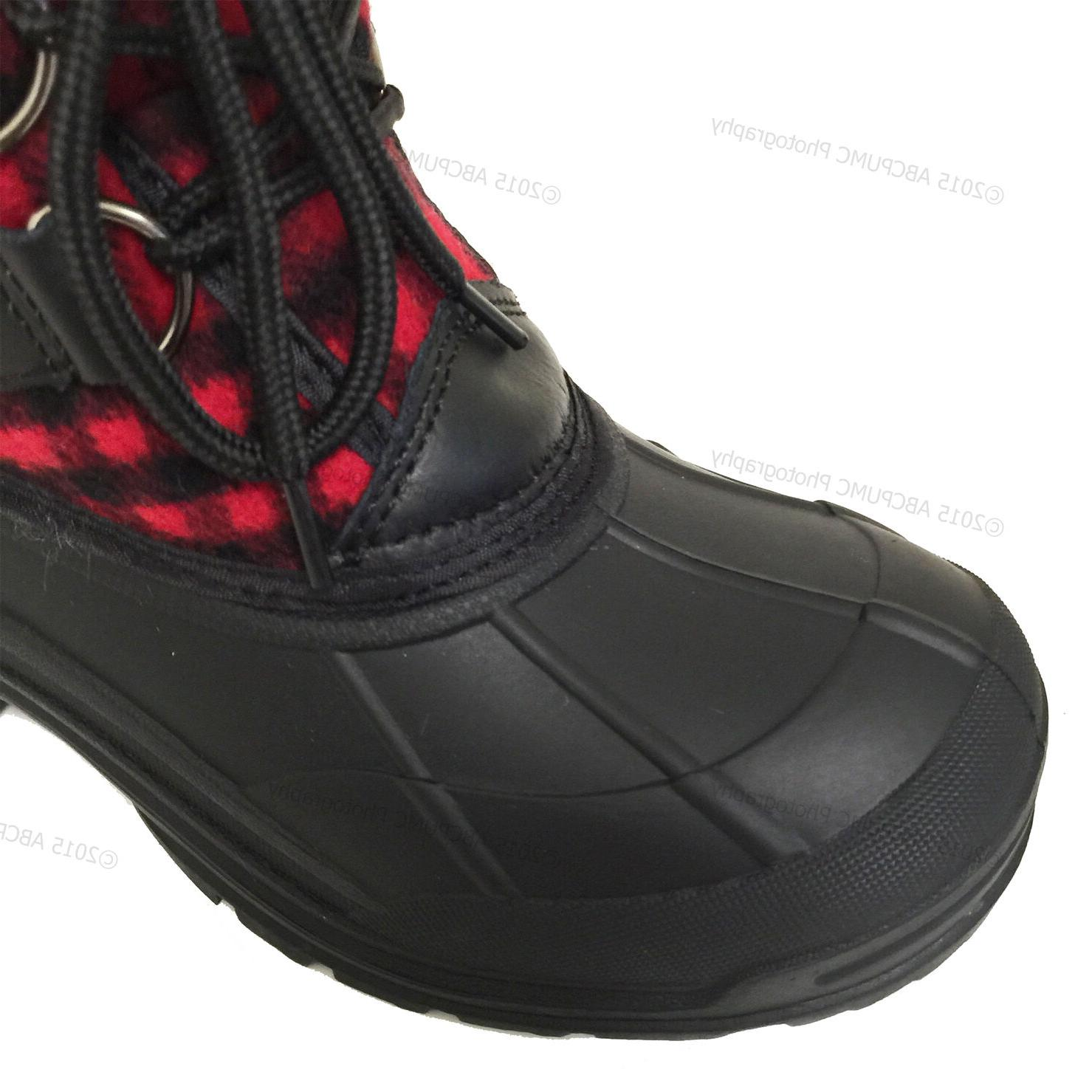 Womens Winter Boots Flannel Plaid Insulated Waterproof