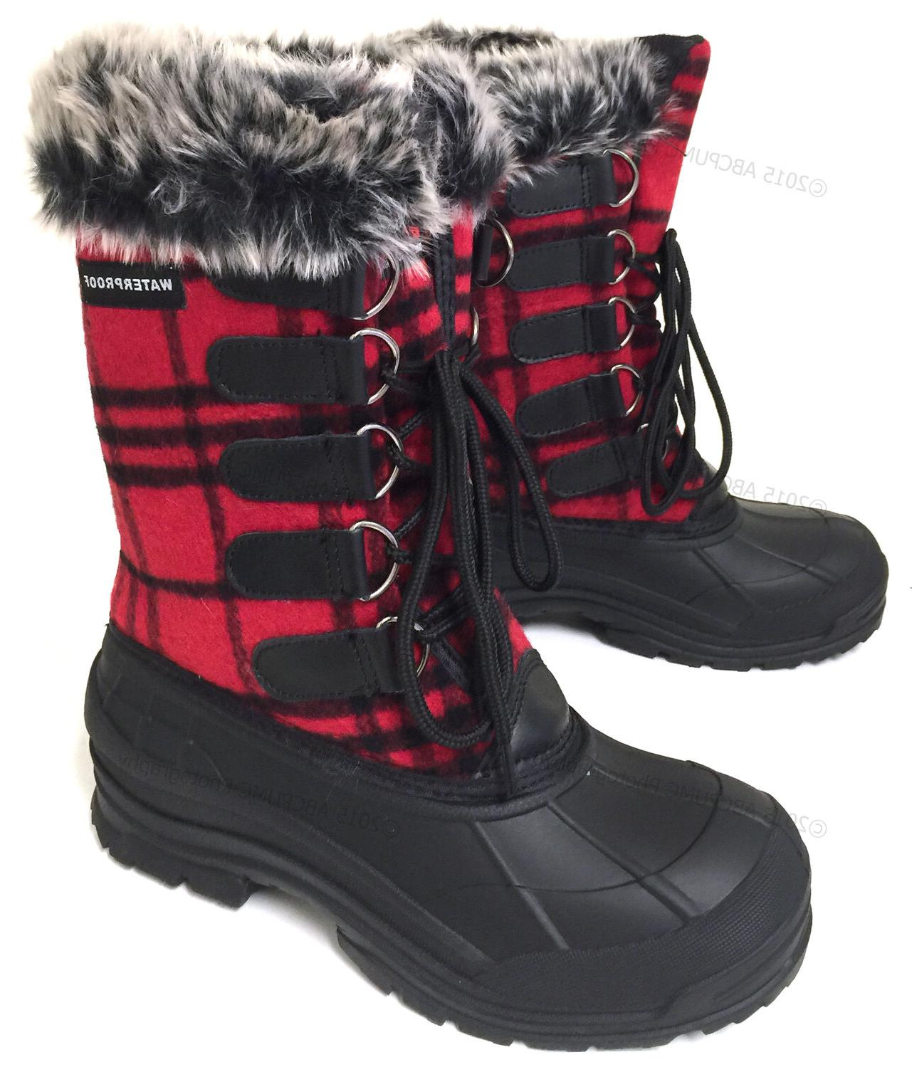womens winter boots flannel plaid fur warm