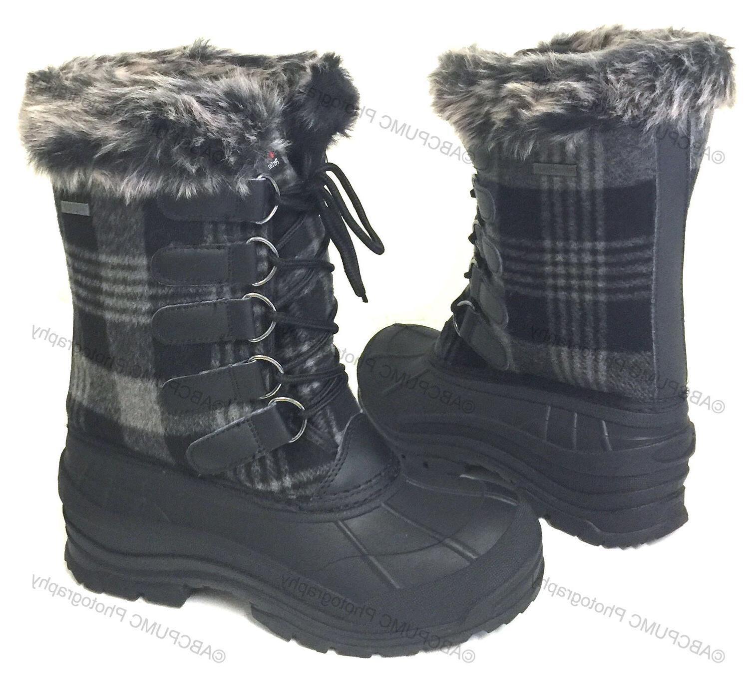 Womens Plaid Insulated Fur Hiking Snow