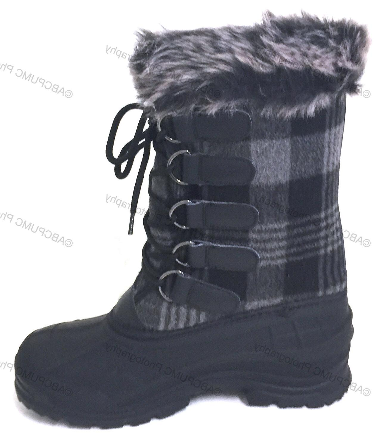 Womens Boots Flannel Plaid Insulated Hiking