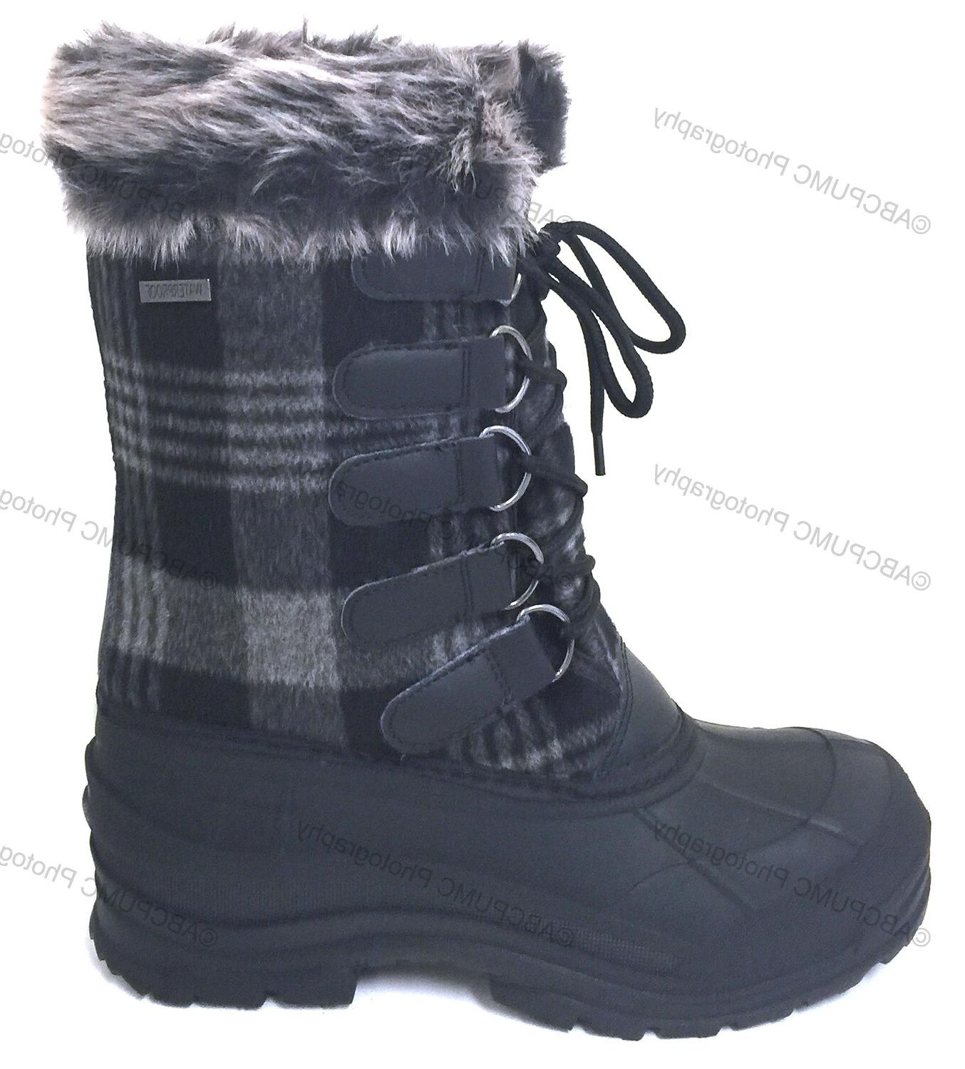 Womens Boots Plaid Hiking Warm Snow Shoe