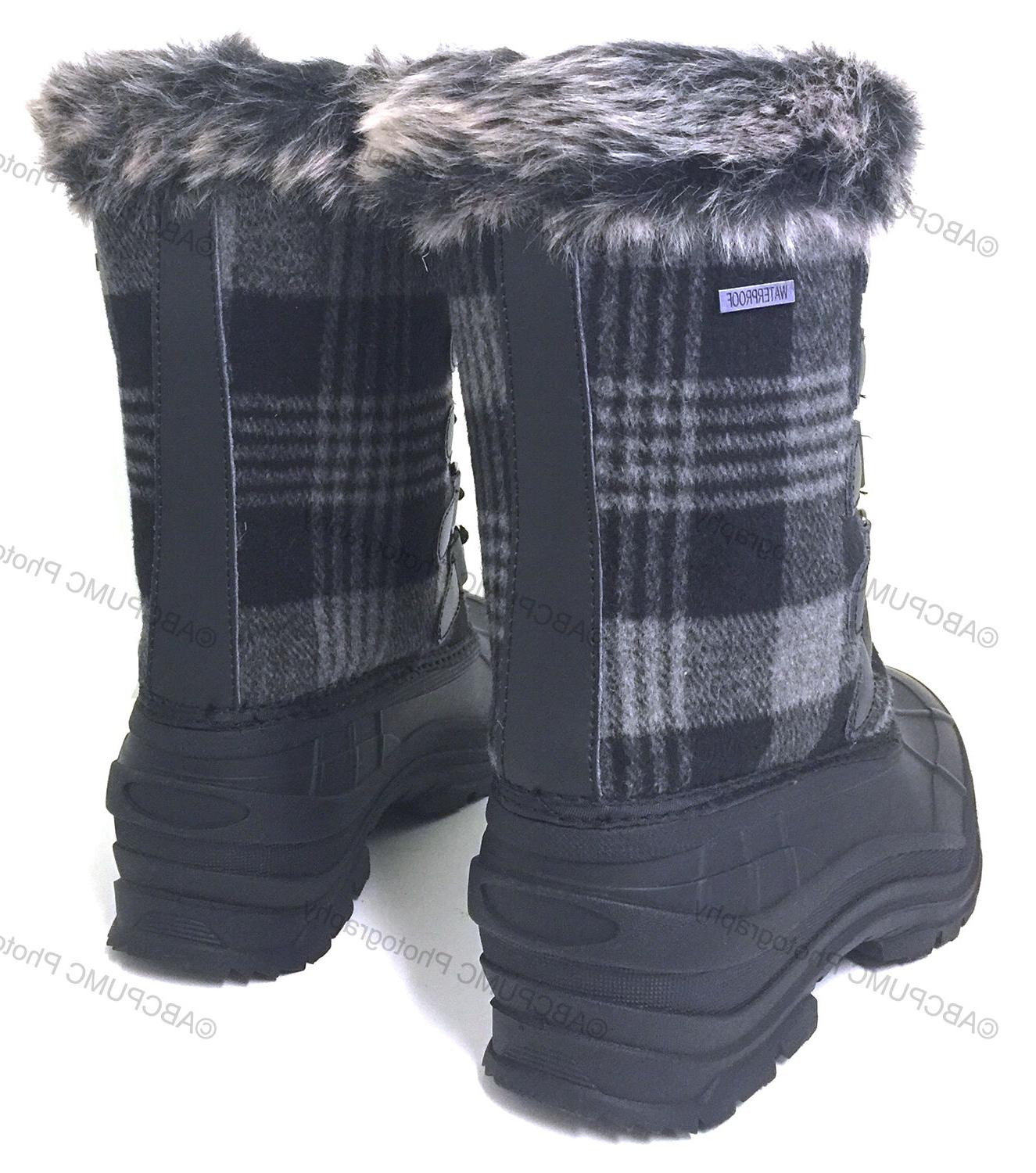 Womens Boots Plaid Insulated Fur Hiking