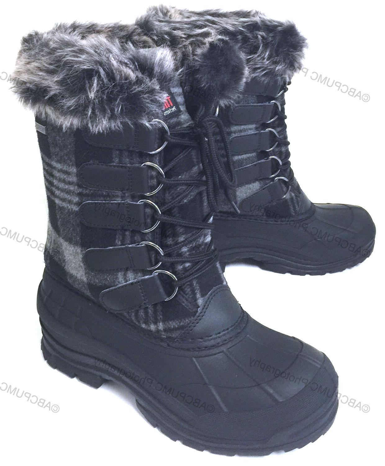 womens winter boots flannel plaid insulated fur