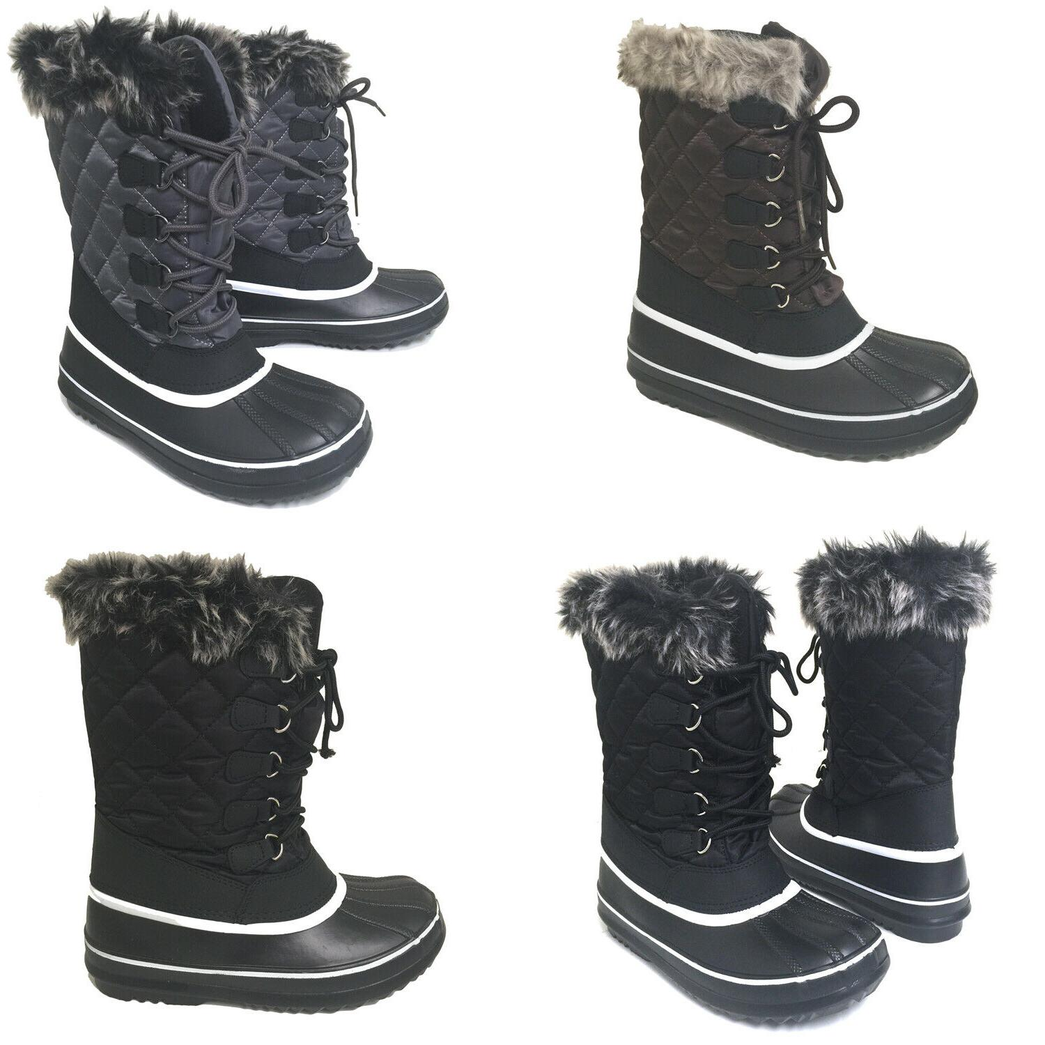 womens winter boots fur warm insulated water