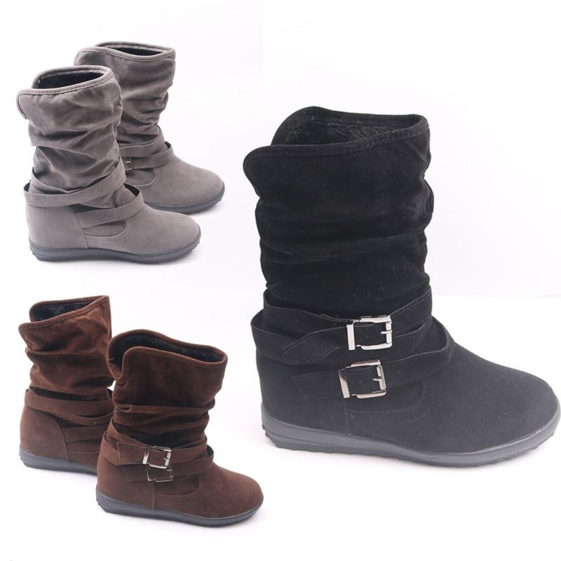 Womens Winter Buckle Warm Casual Fashion Size
