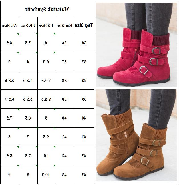 Womens Solid Flat Buckle Short Boots Warm Fashion Size