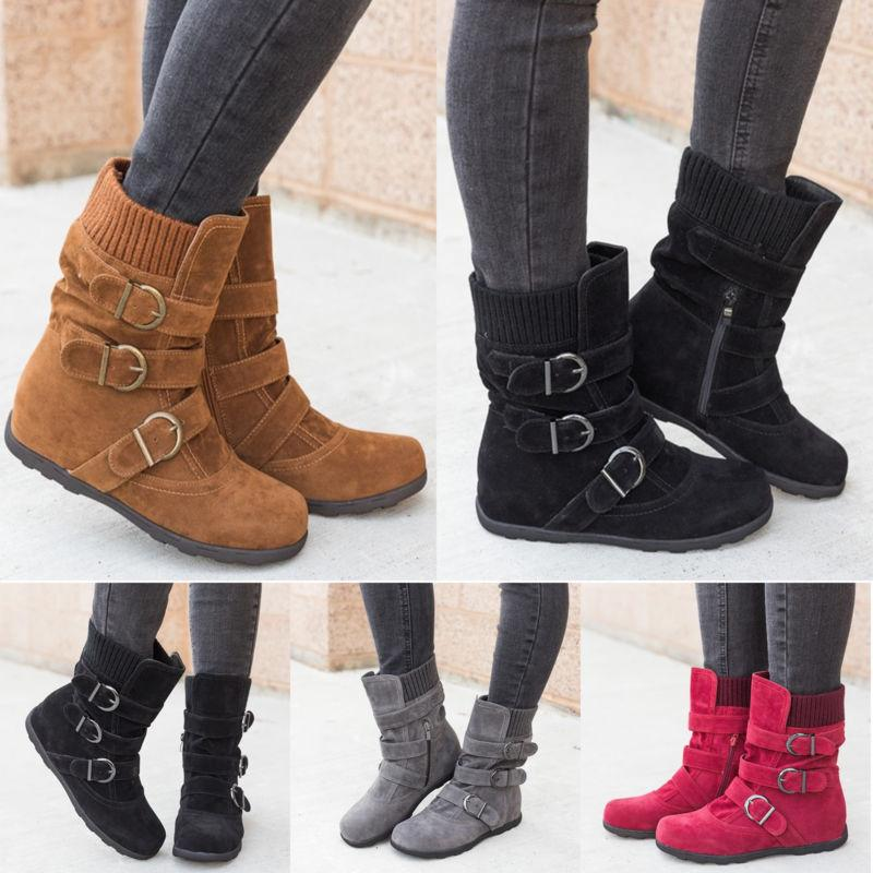 Womens Flat Buckle Warm Shoes Size