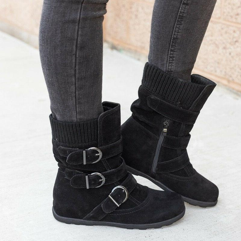 Womens Winter Warm Boots Fur Buckle Flats Suede Size 9.5