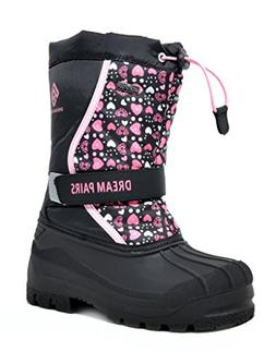 DREAM PAIRS Little Kid Kamick Black Pink Mid Calf Waterproof