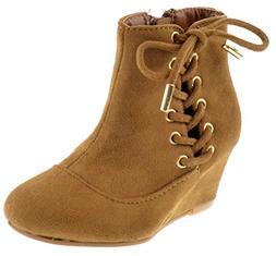 Forever Link Lucia 76K Little Girls Lace Up Ankle Wedge Boot