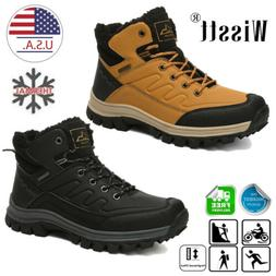 Men Outdoor Work Boots Winter Leather Boots Lace up Waterpro