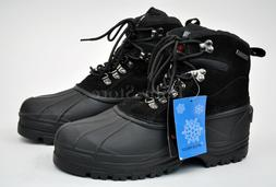 Kingshow Men's Black Winter Snow Boots Shoes Genuine Leather