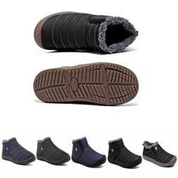 Men's Boots Fleece Ankle Thicken Winter Warm Slip On Outdoor