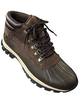 mens warm waterproof winter leather mid height