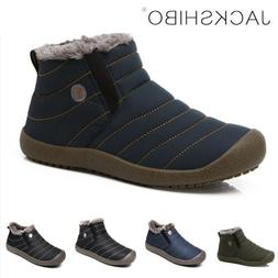 Mens Winter Snow Boots Ankle Fur Lined Warm Shoes Casual Coz