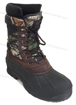 "Mens Winter Snow Boots Camouflage 10"" Leather Waterproof Ins"