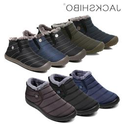 Mens Winter Snow Boots Slippers Ankle Fur Lined Warm Shoes O