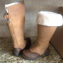 UGG Miko Chestnut Waterproof Leather Fur Rain Snow Tall Boot