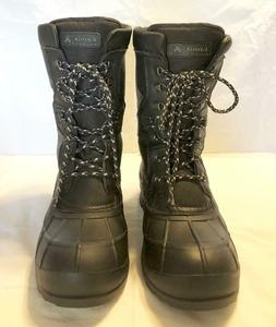 *Kamik Nation Pro Mens Black Leather Lace Up Winter Snow Boo
