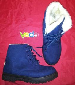 SQL Navy Blue Suede Susanny US 8 Ankle Boots White Fur Lined